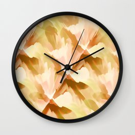 Shades Of Orange Floral Kaleidoscope Abstract Wall Clock