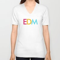 edm V-neck T-shirts featuring EDM Saved My Life by DropBass