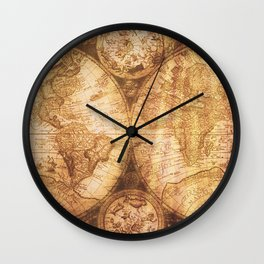 Antique World Map on Wood Wall Clock