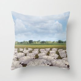 sheep in the field Throw Pillow