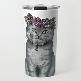 Flower Crown Cat Travel Mug