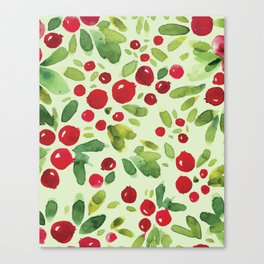 Watercolor Holly Pattern - Kitschy Christmas Holiday Print in Green and Red Canvas Print