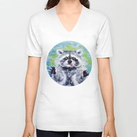 raccoon V-neck T-shirts featuring Raccoon by Alina Rubanenko