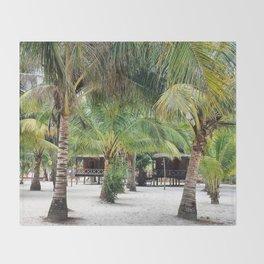 Bungalows on Palm Beach Throw Blanket