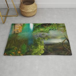 Mother and baby, lioness in jungle surrealism digital art Rug