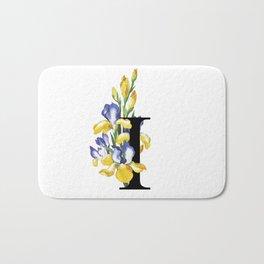 Letter 'I' Iris Flower Typography Bath Mat