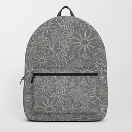 Gray and white floral pattern. Backpack