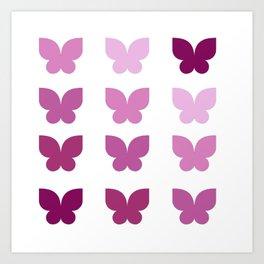 Butterflies in Purple Ombre Art Print