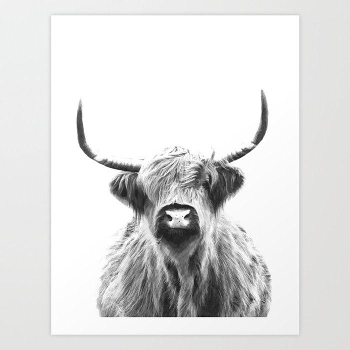 Black and White Highland Cow Portrait Art Print