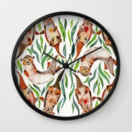 Five Otters – Green Seaweed Wall Clock