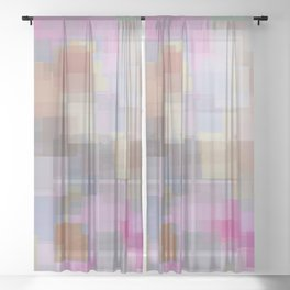 geometric square pattern abstract background in pink brown purple Sheer Curtain