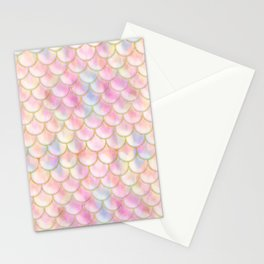 Pastel Iridescent Mermaid Scales Pattern Stationery Cards