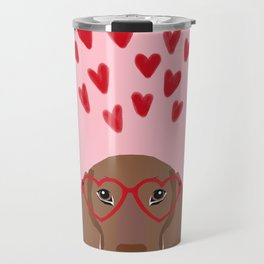 Dachshund valentines day love heart gifts dog breed doxie must haves Travel Mug