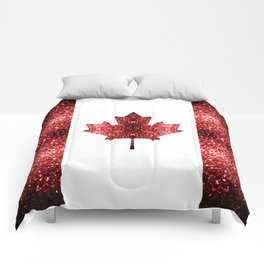 Canada flag red sparkles Comforters