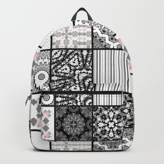 Patchwork . Squares of black, gray Patterns . Backpack