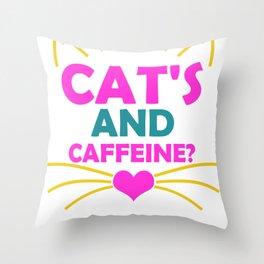 Cat's and Caffeine Throw Pillow