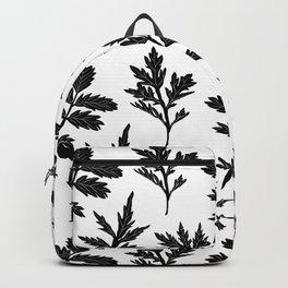 Block Print Mugwort Leaf Toss in Black + White Backpack