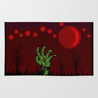 zombies Area & Throw Rugs featuring Zombies - Halloween by sarahbevan11