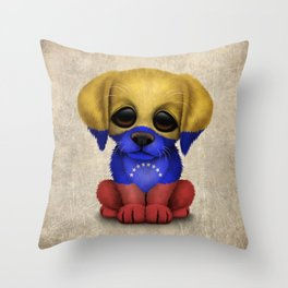 Cute Puppy Dog with flag of Venezuela Throw Pillow