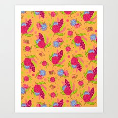 Picnic Pals bouquet in strawberry Art Print