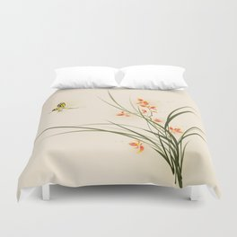 Oriental style painting - orchid flowers and butterfly 003 Duvet Cover