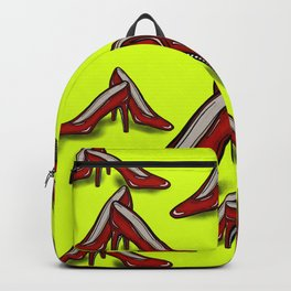 Red Ruby Heels on Fluoro Yellow Backpack