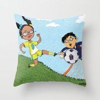 soccer Throw Pillows featuring Soccer by sheena hisiro