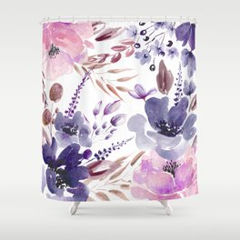 Watercolor giant flowers Shower Curtain
