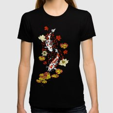 FALLING FISHES LARGE Womens Fitted Tee Black