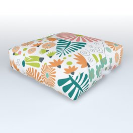 Whimsical flowers - pink, white and green Outdoor Floor Cushion