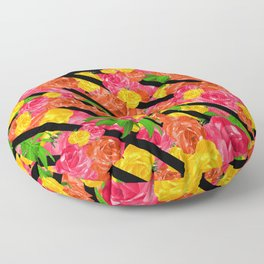 Bold Tropical Spring Floral With Stripes Floor Pillow