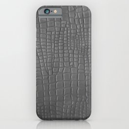 Gray faux leather texture crocodile pattern iPhone Case