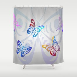 Big Butterflies with grey background Shower Curtain