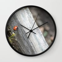 ladybug Wall Clocks featuring Ladybug by Zen and Chic