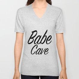 Babe Cave - White and Black Unisex V-Neck