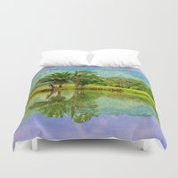 mirror Duvet Covers featuring RIVER MIRROR by Catspaws