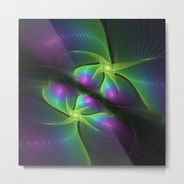 Neon Colors Fractals Art Metal Print
