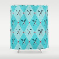 sewing Shower Curtains featuring Sewing Argyle by Julie's Fabrics & Thingummies
