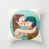 moonrise kingdom Throw Pillows featuring Moonrise Kingdom by Maripili