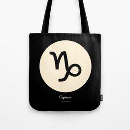 Capricorn Symbol Black Tote Bag