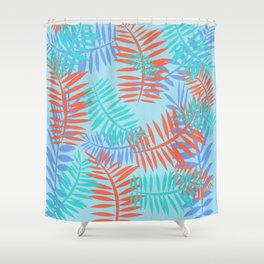 Tropical Ferns Blue Shower Curtain