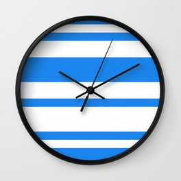 Mixed Horizontal Stripes - White and Dodger Blue Wall Clock