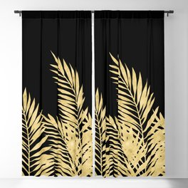 Palm Leaves Golden On Black Blackout Curtain