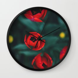 Red roses yellow Wall Clock