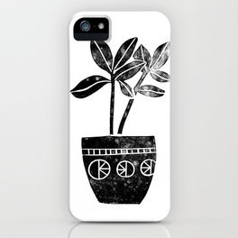 House Plants linocut black and white minimal modern lino print perfect decor piece iPhone Case