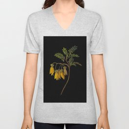 Sophora Tetraptera Mary Delany Floral Paper Collage Delicate Vintage Flowers Unisex V-Neck
