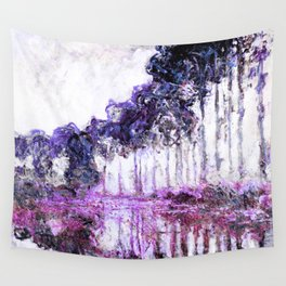 Monet Poplars on the Banks of the River Epte Magenta Violet Wall Tapestry
