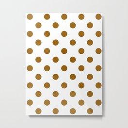 Polka Dots - Golden Brown on White Metal Print