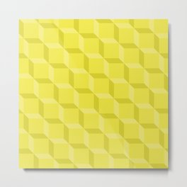 Chartreuse Lattice Metal Print