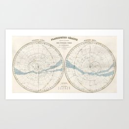 Migeon's Celestial Planisphere of Stars and Constellations (1878) Art Print